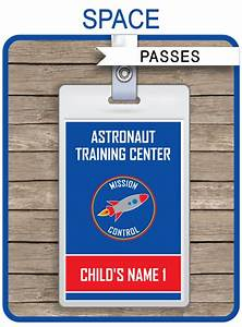 Cooking Party Invitations Space Party Astronaut Training Passes Party Favors
