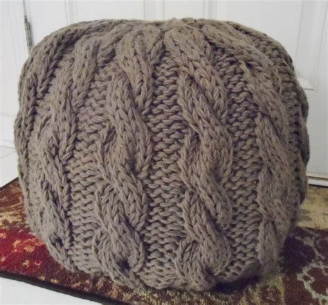 knitted ottoman pouf pattern cable knit pouf ottoman by myra hollingsworth craftsy