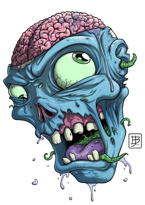 zombie head drawing   brunojunges tattoo