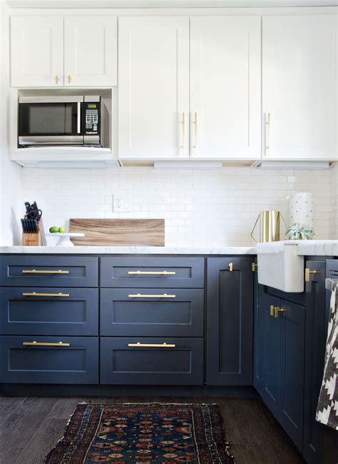 navy blue bottom kitchen cabinets my navy kitchen updated photos the vintage rug shop