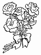 Bouquet Coloring Flower Roses sketch template