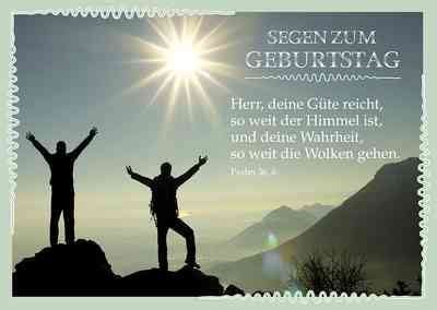 postkarte segen zum geburtstag motiv gipfelstuermer