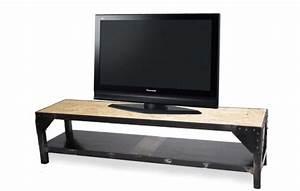 Meuble Tv Metal : meuble en acier avec plateau osb ~ Teatrodelosmanantiales.com Idées de Décoration