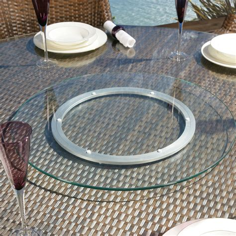 large outdoor garden clear glass lazy susan for dining
