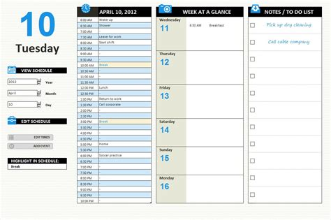 Day Planner Template by Excel Templates Free Excel Templates