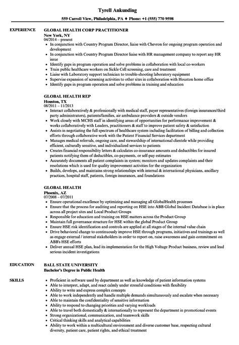 Health Resume by Global Health Resume Sles Velvet
