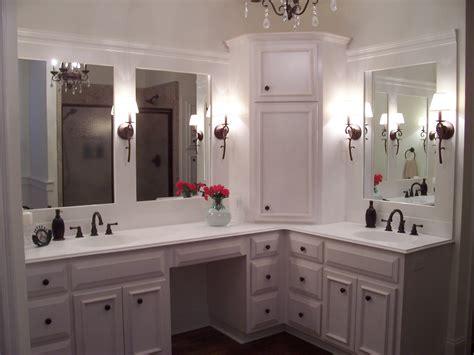 custom cabinets corner linen tower vanity  split