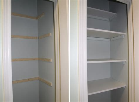 painted white wooden shelves for closet home decorating