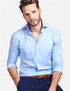 Men's Curtis Light Blue Twill Slim Fit Shirt - High Collar ...