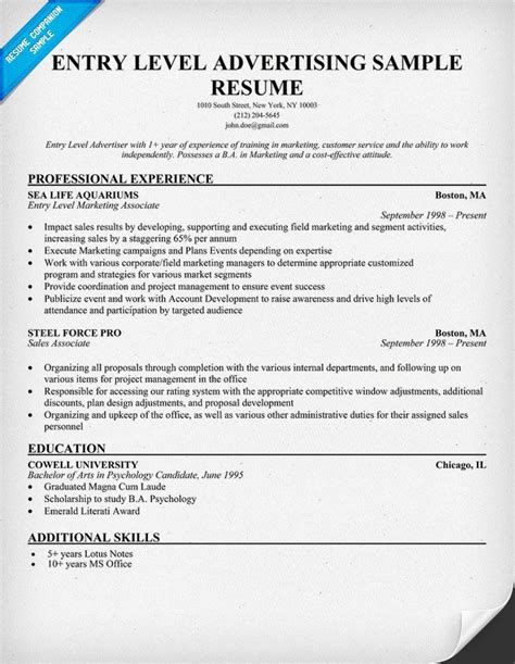 Free Resume Exles For Entry Level by Free Entry Level Advertising Resume Sle Resumes Cover Letters And Portfolios