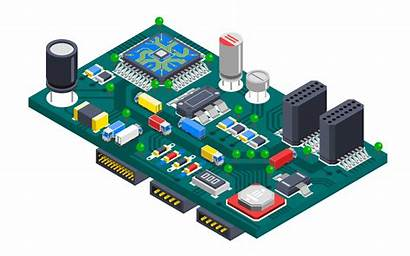 Circuit Board Vector Isometric Concept Clipart System