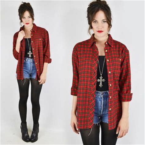 Vtg 80s 90s grunge RED PLAID slouchy OVERSIZED FLANNEL button up shirt top S/M/L | Plaid ...