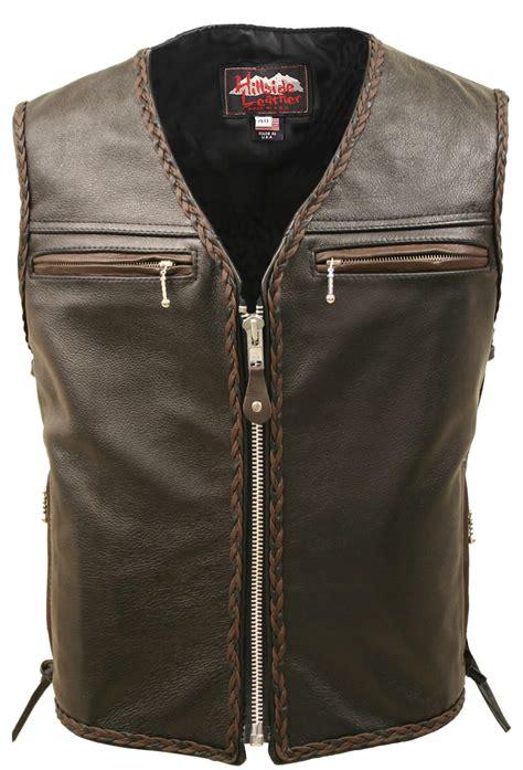 motorcycle vest men 39 s motorcycle leather vest brown black braiding