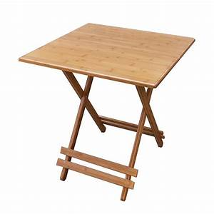 Ec furniture bamboo folding table square table small for Movable coffee table