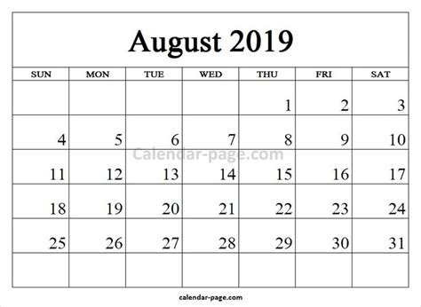 printable calendar august blank template blank calendar