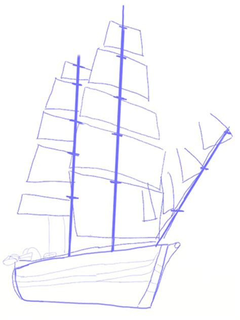 How To Draw A Boat Sailing by Yacht Sail Ship Pencil And In Color Yacht