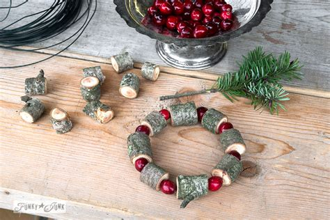 wood cranbery beads for christmas trees make this wooden bead and cranberry wreathfunky