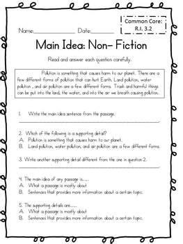 main idea for non fiction test 3rd grade common core aligned tpt