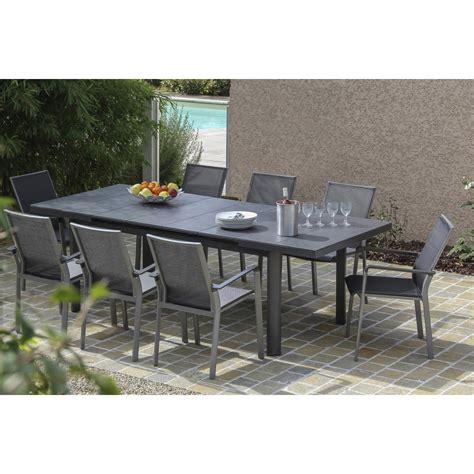 cuisine de jardin en table de jardin bora rectangulaire gris 8 personnes