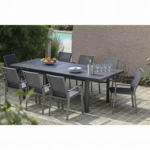 Table De Jardin Exterieur : table de jardin bora rectangulaire gris 8 personnes ~ Premium-room.com Idées de Décoration