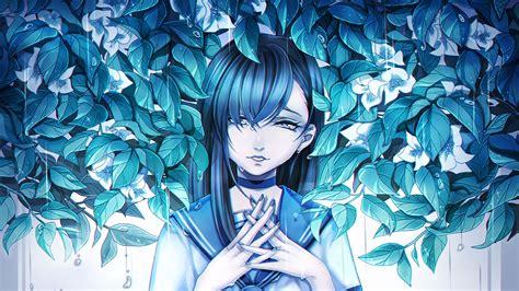 Download Wallpaper 1920x1080 Girl Anime Sadness Leaves
