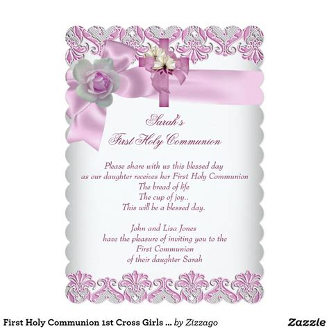 First Holy Communion 1st Cross Girls White Pink S