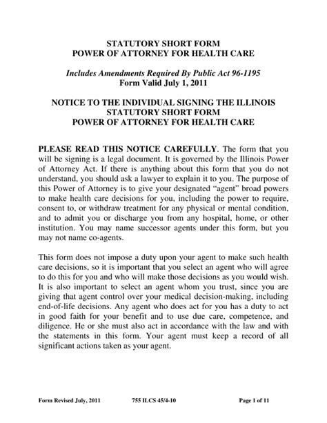 blank power of attorney form illinois free illinois durable power of attorney form for health
