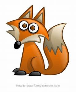 Cute cartoon fox with a large tail and pointed nose ...