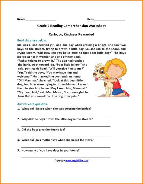 comprehension worksheet year 2 kidz activities