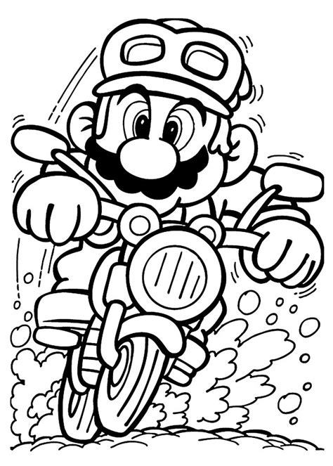 mario  motorcycle coloring pages  kids printable