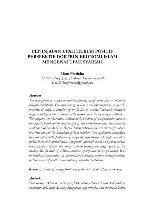 Tinjauan upah hukum positif perspektif doktrin ekonomi