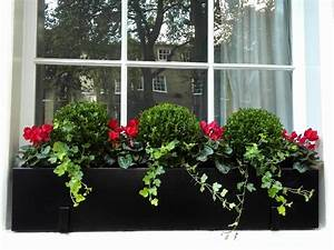 Polystone, Window, Box, With, Buxus, Balls, And, Flowers, U2013, London, Planters
