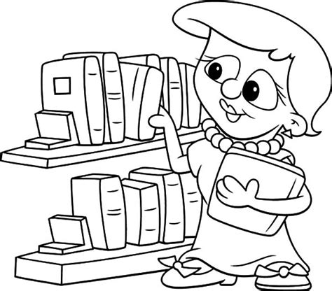 library coloring pages picking book in the library coloring pages