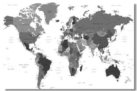 custom canvas wall decals black  white world map poster