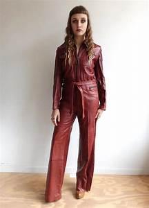Vintage 70s Maroon Leather Jumpsuit 1970s Dark Red