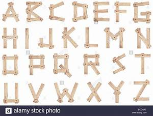 Old wooden alphabet letters made of wood planks stock for Letters made of wood