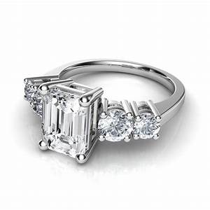 round and emerald cut diamond engagement ring With wedding ring emerald cut