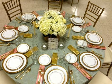 Tabletop Arrangements by Elegant Luncheon High Tea Gold And Salmon Colors Coral