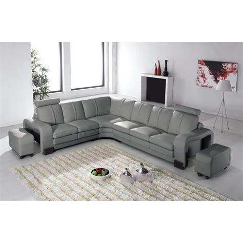 canapé en cuir gris canapé d 39 angle en cuir gris avec appuie tête relax havane