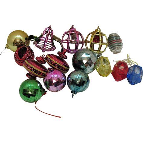 vintage 15 hard plastic christmas tree ornaments 1960s
