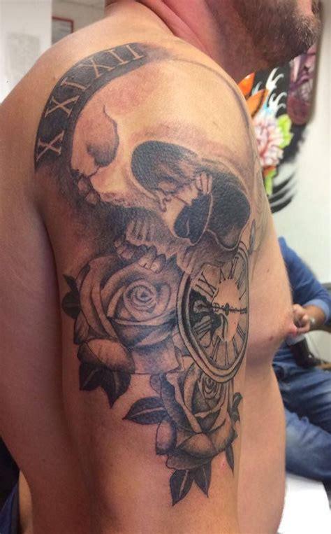 skull rose pocket  black  grey shadesleeve work men  tattoos skull  roses