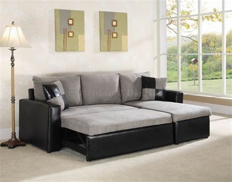 Therapy Sectional by Vinyl Sofa Grey Fabric Black Vinyl Modern Sectional