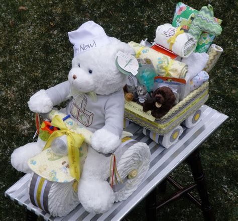 Tricycle Diaper Cake pulling a wagon filled with goodies