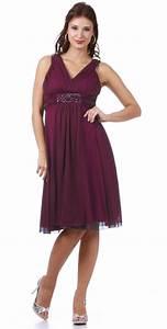 plum wide straps v neckline short knee length wedding With plum dress for wedding guest