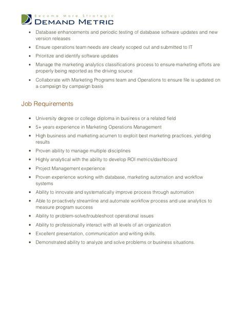 Operations Coordinator Description by Marketing Operations Manager Description