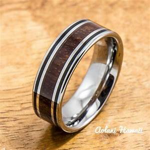 tungsten wedding ring set with hawaiian koa wood handmade With hawaiian style wedding rings