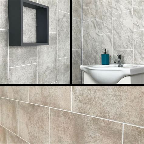 cutline grey marble tile effect bathroom panels shower wet