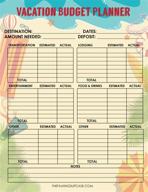 travel budget template travel budget worksheet