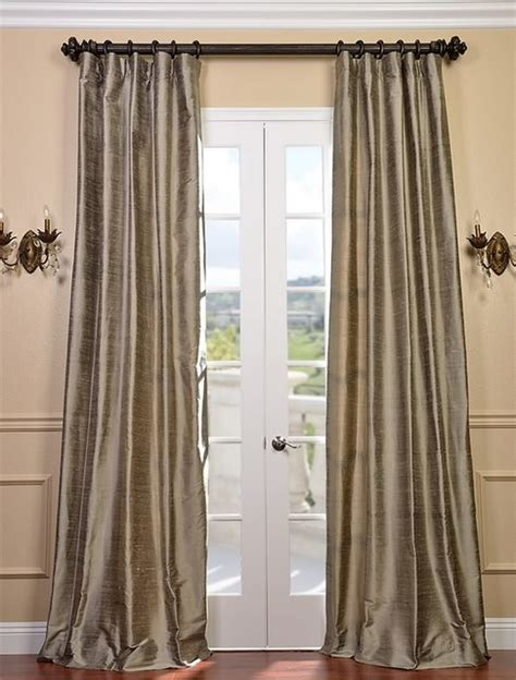 textured dupioni silk curtain traditional