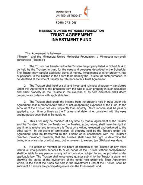 trust agreement templates  word  premium